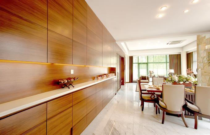 中式整体家具-木饰面餐边柜