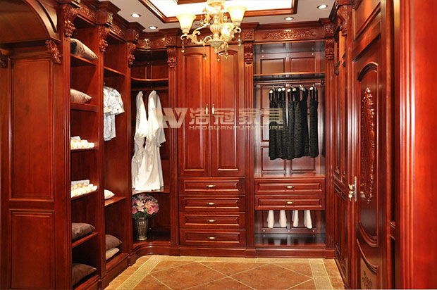 欧式樱桃木衣帽间|衣柜衣帽间定制|浩冠家具(上海)